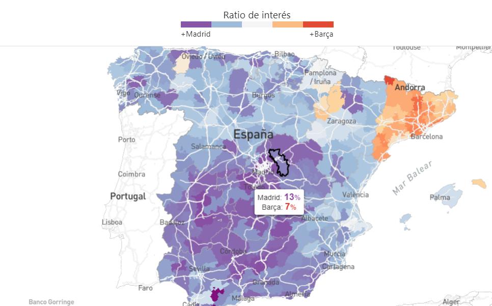 Como se reparte el interés por cada club en toda España