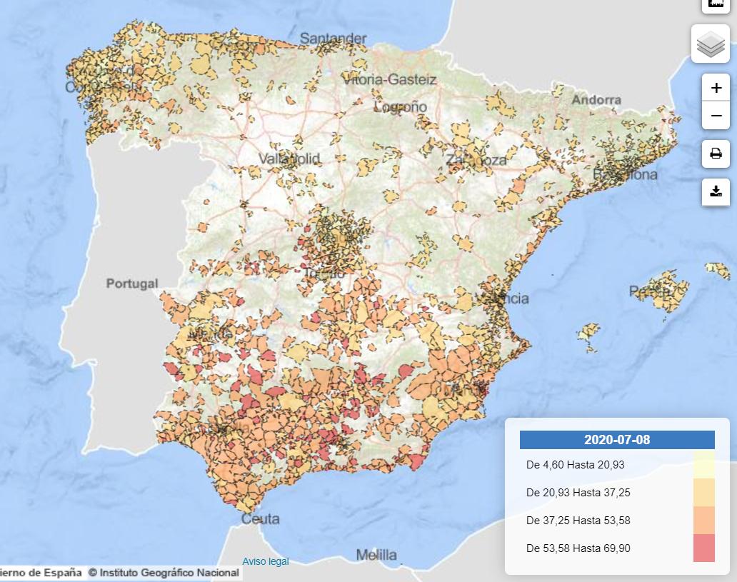 Mapa del riesgo de pobreza infantil por municipio