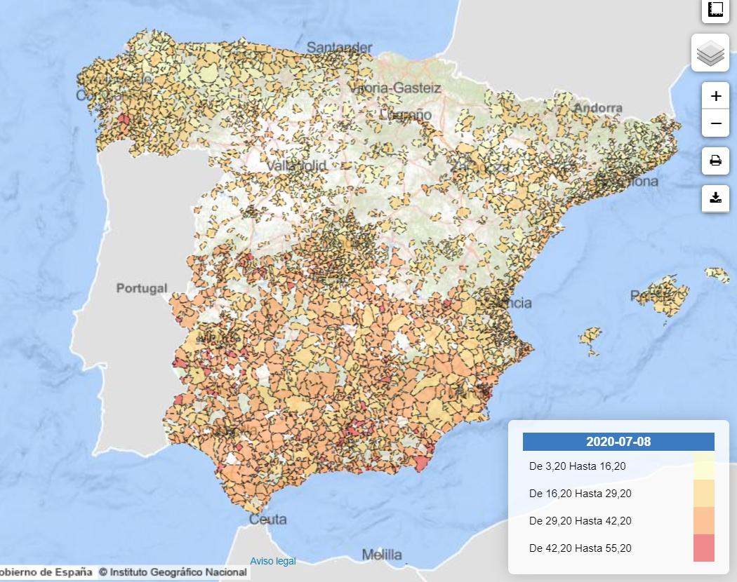 Mapa del riesgo de pobreza por municipio