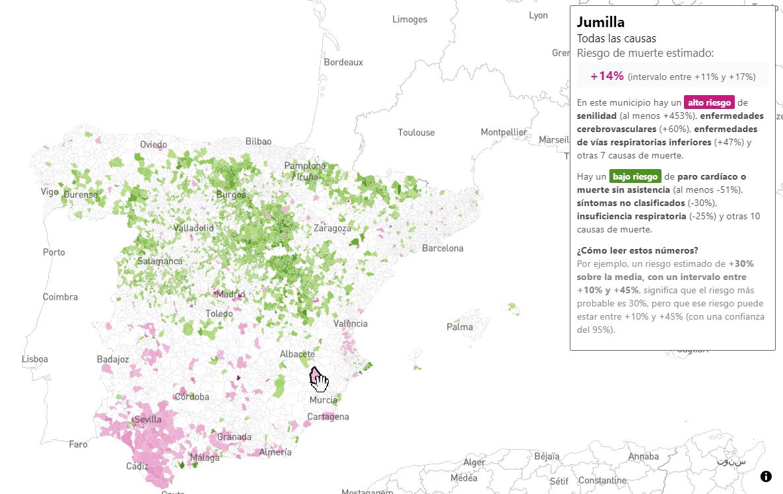 El mapa de la mortalidad en España, municipio a municipio