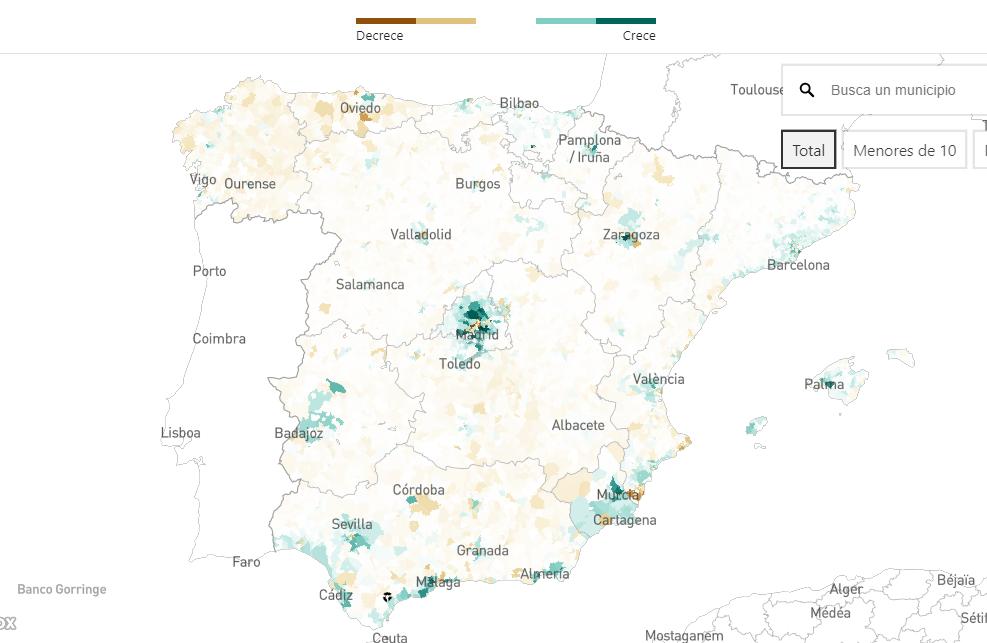 Así ha cambiado la población en España desde 2009, por municipios y distritos
